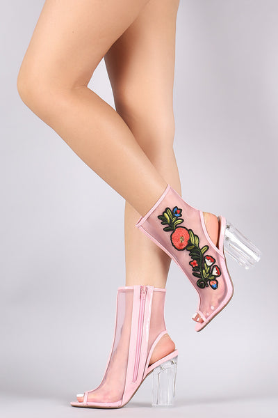 Delicious Floral Patch Mesh Chunky Perspex Heeled Booties - Porcupine Lagoon LLC -Shoes, Booties