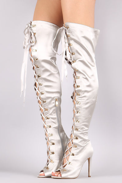 Satin Ribbon Lace-Up Stiletto Over-The-Knee Boots - Porcupine Lagoon LLC -Shoes, Boots