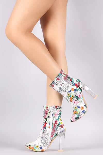 Spring Garden Print Chunky Perspex Heeled Booties - Porcupine Lagoon LLC -Shoes, Booties
