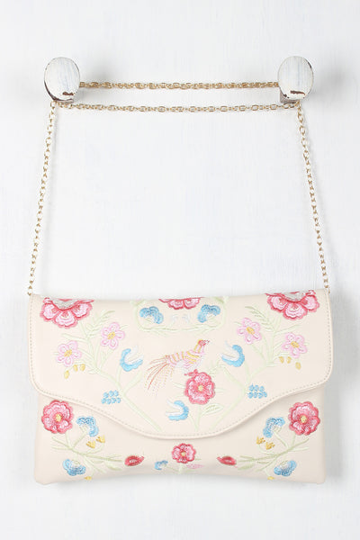 Embroidered Floral Bird Clutch Bag - Porcupine Lagoon LLC -Accessories, Bags