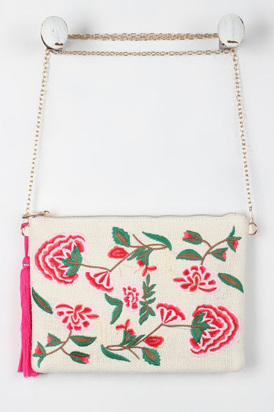 Embroidered Floral Tassel Bag - Porcupine Lagoon LLC -Accessories, Bags