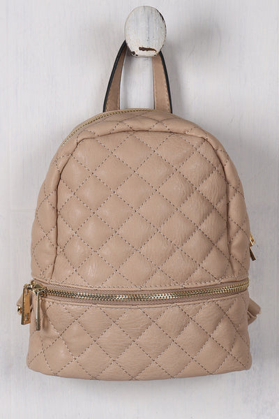 Vegan Leather Quilted Mini Backpack - Porcupine Lagoon LLC -Accessories, Bags