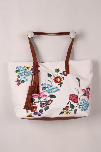 Embroidered Floral Reversible Tribal Tote Bag - Porcupine Lagoon LLC -Accessories, Bags