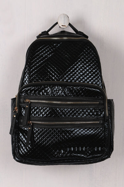 Shiny Metallic Quilted Backpack - Porcupine Lagoon LLC -Accessories, Bags