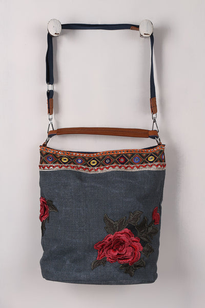Colorful Embroidery Floral Patch Denim Bag - Porcupine Lagoon LLC -Accessories, Bags