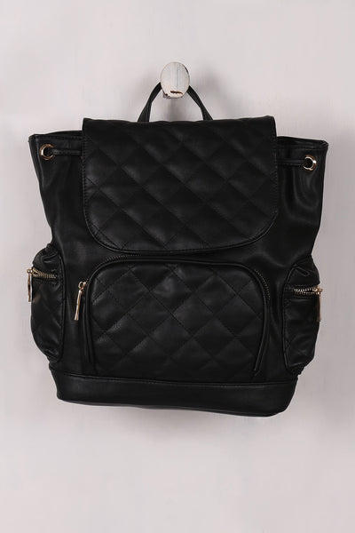Vegan Leather Quilted Pullstring Backpack - Porcupine Lagoon LLC -Accessories, Bags