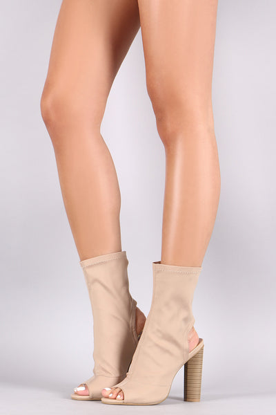 Peep Toe Cutout Stacked Chunky Heeled Booties - Porcupine Lagoon LLC -Shoes, Booties