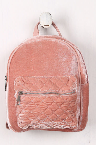 Velvet Quilted Front Mini Backpack - Porcupine Lagoon LLC -Accessories, Bags