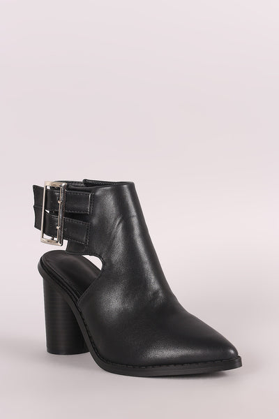 Pointy Toe Double Buckled Cylindrical-Heeled Ankle Boots - Porcupine Lagoon LLC -Shoes, Booties