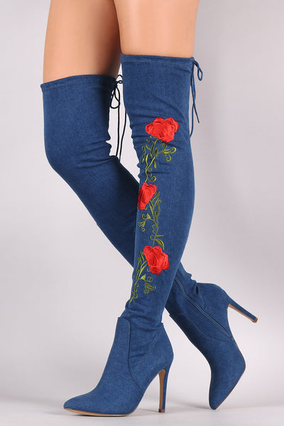 Floral Embroidered Denim OTK Boots - Porcupine Lagoon LLC -Shoes, Boots