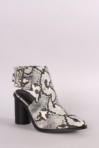 Python Pointy Toe Double Buckled Cylindrical-Heeled Ankle Boots - Porcupine Lagoon LLC -Shoes, Booties