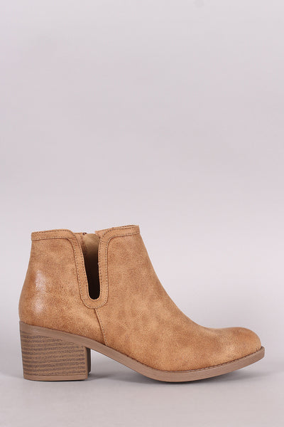 Qupid Side Cutout Oil Finished Chunky Heeled Booties - Porcupine Lagoon LLC -Shoes, Booties