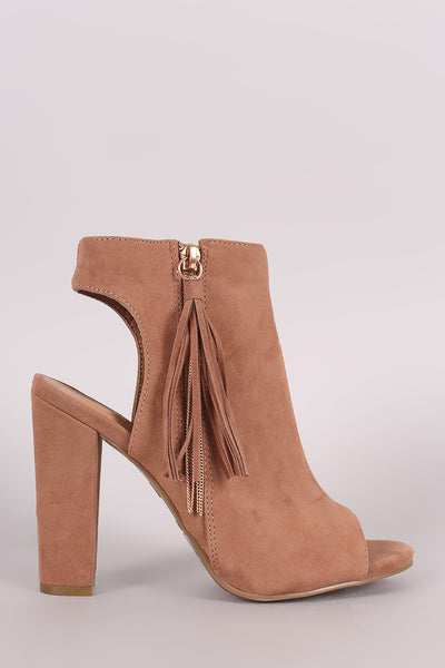 Bamboo Suede Cutout Tassel Booties - Porcupine Lagoon LLC -Shoes, Booties