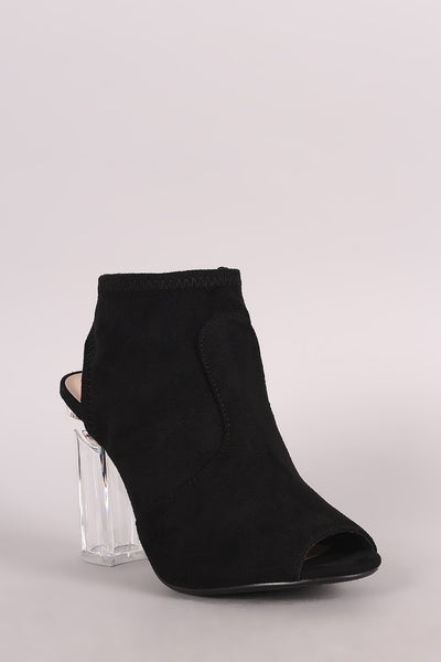 Delicious Fitted Suede Chunky Heeled Booties - Porcupine Lagoon LLC -Shoes, Booties