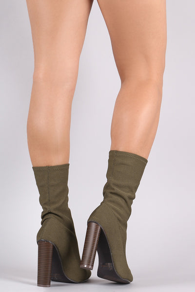 Qupid Knit Fitted Chunky Heeled Mid Calf Boot - Porcupine Lagoon LLC -Shoes, Booties
