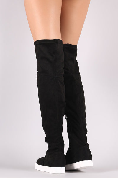 Suede Over-The-Knee Sneaker Boots - Porcupine Lagoon LLC -Shoes, Boots