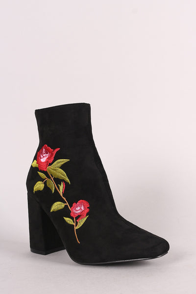 Suede Floral Embroidered Ankle Boots - Porcupine Lagoon LLC -Shoes, Booties