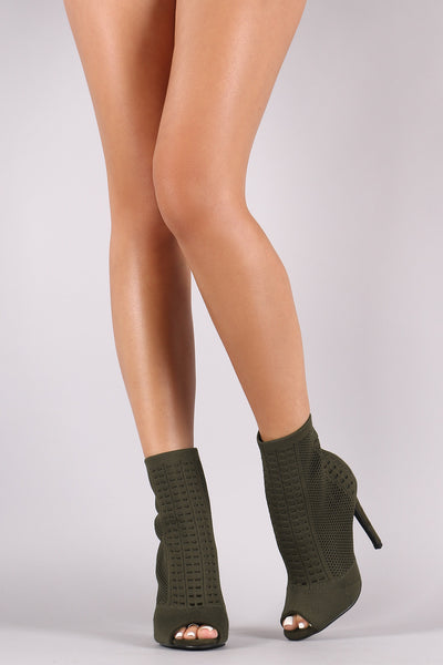 Knit Peep Toe Stiletto Ankle Boots - Porcupine Lagoon LLC -Shoes, Booties