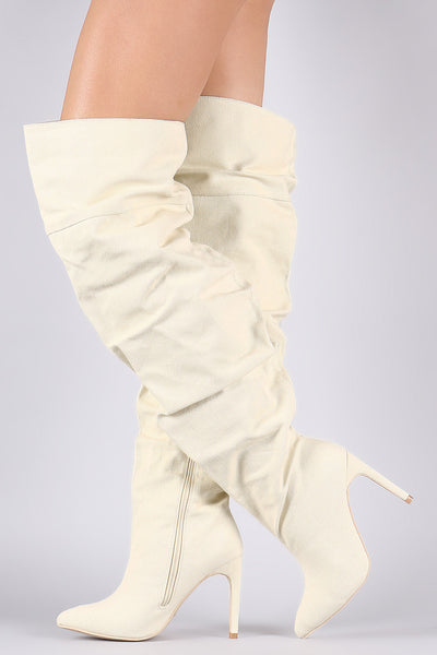 Slouchy Canvas Pointy Toe Over-The-Knee Boots - Porcupine Lagoon LLC -Shoes, Boots