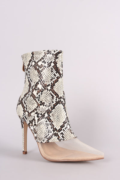 Python Mesh Inset Pointy Toe Stiletto Booties - Porcupine Lagoon LLC -Shoes, Booties