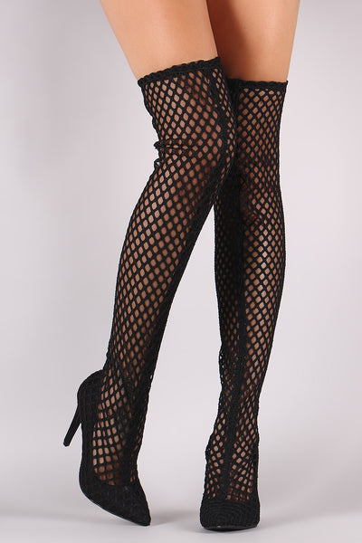 Netted Mesh Pointy Toe Stiletto Over-The-Knee Boots - Porcupine Lagoon LLC -Shoes, Boots