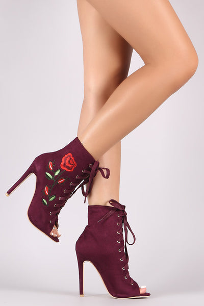 Suede Embroidered Rosette Lace Up Stiletto Ankle Boots - Porcupine Lagoon LLC -Shoes, Booties