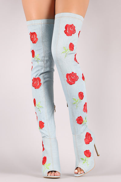 Embroidery Rosette Denim Stiletto Over-The-Knee Boots - Porcupine Lagoon LLC -Shoes, Boots