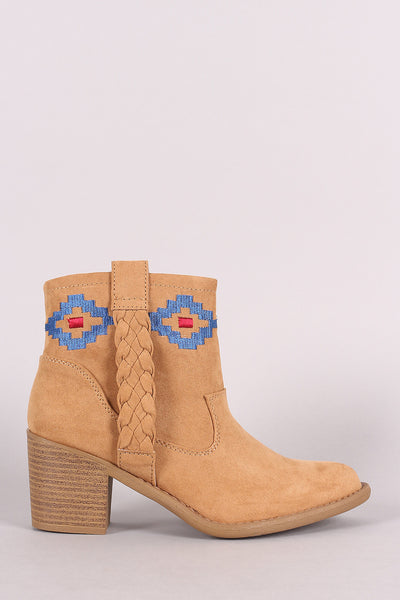 Qupid Embroidery Suede Chunky Heeled Ankle Boots - Porcupine Lagoon LLC -Shoes, Booties