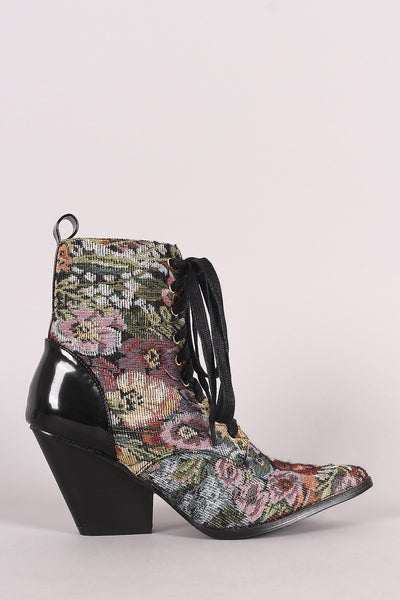 Floral Tapestry Pointy Toe Lace Up Chunky Heeled Booties - Porcupine Lagoon LLC -Shoes, Booties