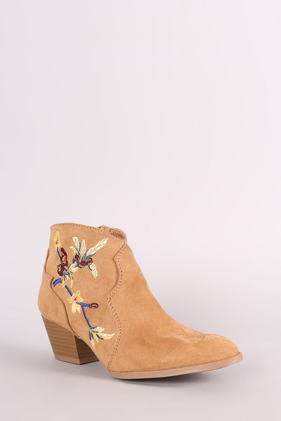 Qupid Suede Floral Embroidered Ankle Boots - Porcupine Lagoon LLC -Shoes, Booties