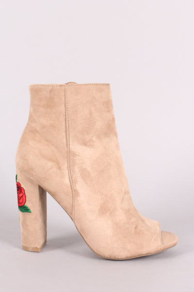 Wild Diva Lounge Peep Toe Floral Embroidery Chunky Heeled Booties - Porcupine Lagoon LLC -Shoes, Booties