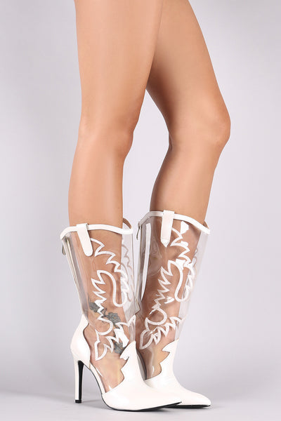 Lucite Western Stitch Pointy Toe Stiletto Mid Calf Boots - Porcupine Lagoon LLC -Shoes, Boots