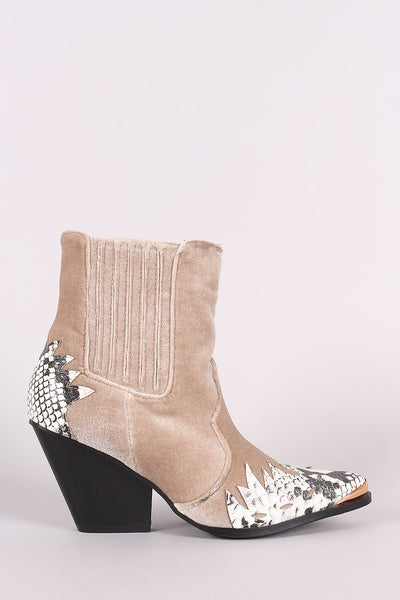 Velvet Snake Flame Accent Pointy Toe Chunky Heeled Cowboy Booties - Porcupine Lagoon LLC -Shoes, Booties