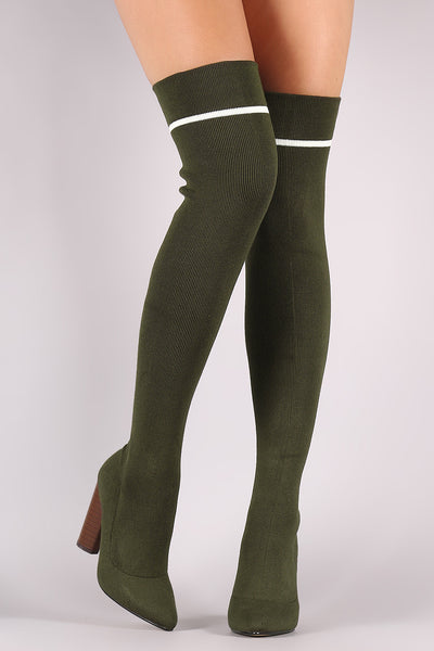 Qupid Ribbed Sweater Knit Striped Over-The-Knee Boots - Porcupine Lagoon LLC -Shoes, Boots