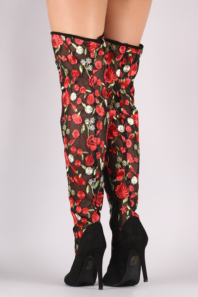 Suede Floral Embroidery Mesh Stiletto Over-The-Knee Boots - Porcupine Lagoon LLC -Shoes, Boots