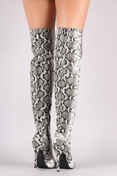 Python Print Pointy Toe Stiletto Over-The-Knee Boots - Porcupine Lagoon LLC -Shoes, Boots