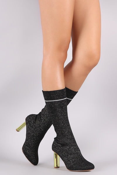 Shimmer Ribbed Sweater Knit Oval Heeled Mid Calf Boots - Porcupine Lagoon LLC -Shoes, Boots