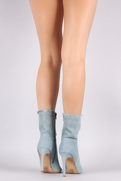 Shoe Republic Frayed Denim Peep Toe Stiletto Booties - Porcupine Lagoon LLC -Shoes, Booties