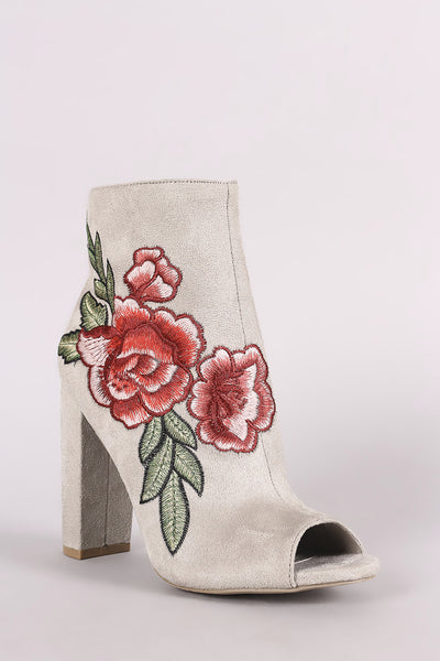 Wild Diva Lounge Embroidered Floral Chunky Heeled Ankle Boots - Porcupine Lagoon LLC -Shoes, Booties