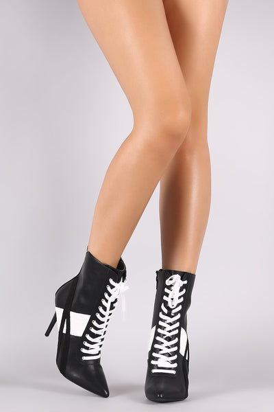 Wild Diva Lounge Contrast Suede Trim Lace Up Stiletto Sneaker Booties - Porcupine Lagoon LLC -Shoes, Booties