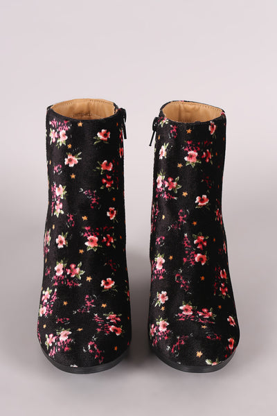 Qupid Floral Print Velvet Blocky Heeled Ankle Boots - Porcupine Lagoon LLC -Shoes, Booties