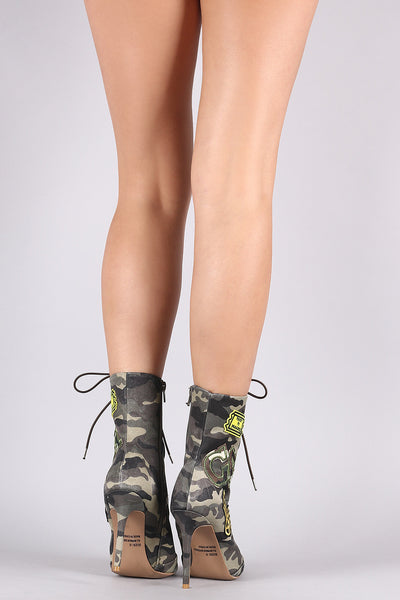 Qupid Camouflage Military Patch Lace Up Booties - Porcupine Lagoon LLC -Shoes, Booties