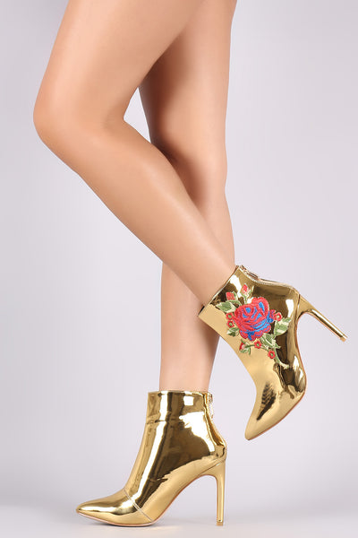 Embroidered Rosette Metallic Pointy Toe Stiletto Booties - Porcupine Lagoon LLC -Shoes, Booties