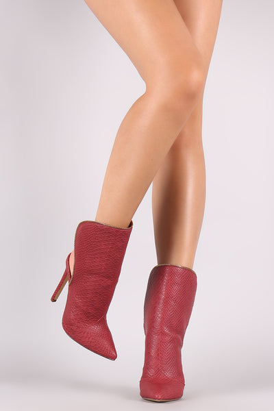 Liliana Snake Pointy Toe Zipper Edge Open Back Boots - Porcupine Lagoon LLC -Shoes, Booties