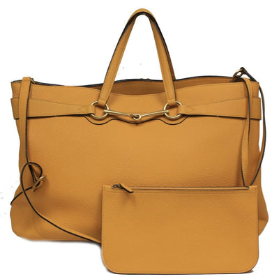 Gucci Soft Golden Yellow Bright Leather Horsebit Tote Bag Shoulder Handbag - Porcupine Lagoon LLC -Designer Bag