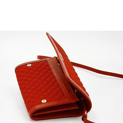 Prada Quilted Nylon & Soft Calf Leather Crossbody Shoulder Wallet Bag 1M1437, Red - Porcupine Lagoon LLC -Designer Bag