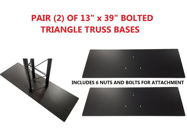 "Pair (2) Two Black 13""x39"" Metal Base For Bolted Triangle Trusses"