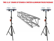 2 Meter 6.56' Aluminum Truss Section With Two 11.6' Crank Up Stands + Adapters