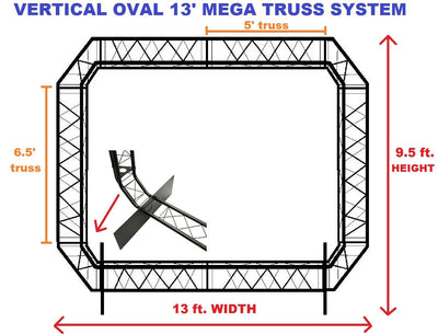 Black Truss Arch Oval Kit 13' Width Mobile Portable DJ Lighting System Metal