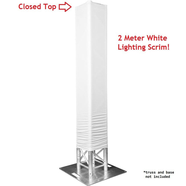 6 Foot White Totem/Lighting Truss Stand Scrim Cover Sleeve Sock (6ft) Closed Top